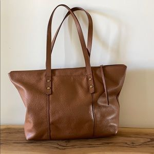 Fossil Leather Tote Bag Purse Large Camel Brown